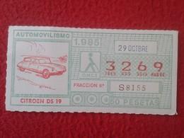 CUPÓN DE LA ONCE LOTTERY LOTERIE SPAIN CIEGOS LOTERÍA ESPAÑA COCHE CAR AUTO VOITURE CITROEN CITROËN DS 19 TIBURÓN SAPO - Billets De Loterie