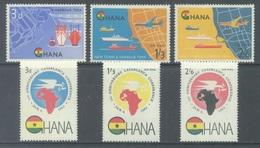 GHANA - 1962 - MNH/**  - CASABLANCA CONF. NEW HARBOUR TEMA - Yv 102-103 PA 7-10  Mi 112-117 - Lot 17917 - Ghana (1957-...)