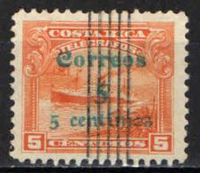 COSTARICA - 1911 - PIROSCAFO CON SOVRASTAMPA - OVERPRINTED - USATO - Costa Rica