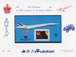 Guinea Equat. 1976, Concorde, Satellite, Telephone, UIT, BF Numbered In A Presentation Card - Equatorial Guinea