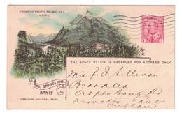 BANFF - HOT SPRINGS HOTEL - CARTE 1908 De LA CANADIAN PACIFIC RAILWAY COMPANY ENTIER POSTAL SUR COMMANDE - Banff