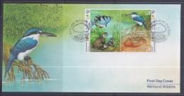 Singapore 2000 Wetland Wildlife, Fish, Otter, Crab, Kingfisher FDC - Singapore (1959-...)