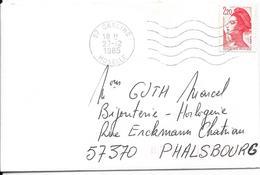 LOT 1810067- LSC DE CARLING DU 27/12/85 POUR PHALSBOURG - Marcophilie (Lettres)