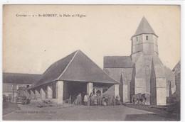 Corrèze - St-Robert - La Halle Et L'église - France