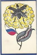 CPA Patriotique Satirique Caricature Guerre 14-18 Germany Kaiser Non Circulé Russie Papillon - War 1914-18