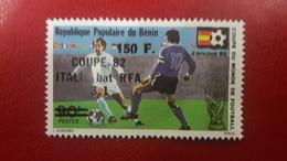 BENIN 1995 - MICHEL Mi 652 SOCCER WORLD CUP FOOTBALL SPAIN 1982 - OVERPRINT OVERPRINTED SURCHARGE SURCHARGED ALGERIA MNH - Benin - Dahomey (1960-...)