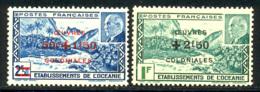 Oceanie 1944 Yvert 169 / 170 ** TB Coin De Feuille - Oceania (1892-1958)