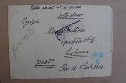 STORIA POSTALE ITALIA ITALY LETTERA DA CAMPO DI CONCENTRAMENTO DI GONARS PER LUBIANA - 1900-44 Victor Emmanuel III