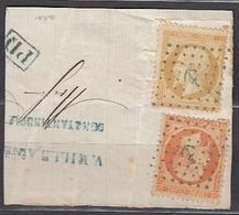Fragment De Constantinople Avec N21/23 Ancre Bleue - 1862 Napoleon III