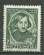 POLAND MHH ** 647 CENTENAIRE DE LA MORT DU POETE RUSSE NICOLAS GOGOL écrivain Littérature - Neufs