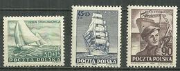 POLAND MNH ** 658-660 Journée Des Chantiers Navals Yachts Frégate DOR POMOZA Ouvrier Bateau Voile - Neufs