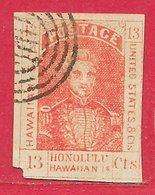 Hawaï N°6 13c Rouge (faux Spiro) 1853 O - Hawaii