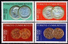 Turkey - 2001 -  Coins Of Seljuk, Ottoman And Republic Periods - Mint Stamp Set - 1921-... Republic