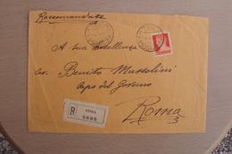 STORIA POSTALE ITALIA ITALY LETTERA DA ATINA FROSINONE DIRETTA A SUA ECCELLENZA BENITO MUSSOLINI IN RACCOMANDATA - 1900-44 Victor Emmanuel III