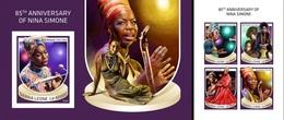 Sierra Leone 2018, Music, Nina Simone, 4val In BF +BF IMPERFORATED - Sierra Leone (1961-...)