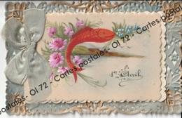 CPA - Fêtes - 1er Avril - Poisson D'avril - Carte Ajourée Avec Découpis De Deux Cartes Dont Une En Celluloïde Et Ajoutis - April Fool's Day