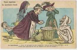 Illustrateur Assus Alger Le Marchand Oeufs Cliente Juive Eggs Seller - Giudaismo