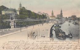 AK Dresden Blick Vom Kgl. Belvedere, Brühlsche Terasse,Schloss Und Hofkirche Gel. 14.3.02 - Dresden