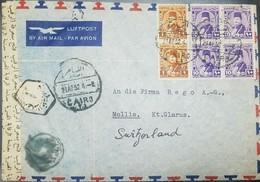 O) 1952 EGYPT, KING FAROUK -SCT 242 1m Yellow-SCT 247 10m Violet, CENSORSHIP, AIRMAIL LUFTPOST TO SWITZERLAND, XF - Egypt