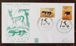 ALGERIE Reptiles, Reptile, Oiseaux, Faune Saharienne, Yvert N°447/8, FDC, Premier Jour - Reptiles & Amphibians