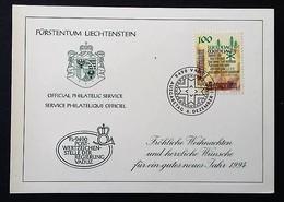 Liechtenstein  1993 Y&T N°1016 Carte Premier Jour Service Philatélique Officiel - Liechtenstein