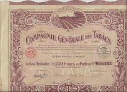 COMPAGNIE GENERALE DES TABACS - ACTION DE 250 FRS ANNEE 1927 - Actions & Titres