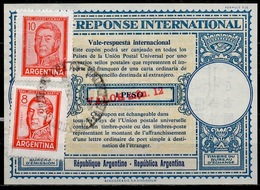 ARGENTINE / ARGENTINA London Type XVIu Reply Coupon Reponse Surcharged VALOR M$n. 12 / 1 Peso + Stamps 18 Pesos - Interi Postali