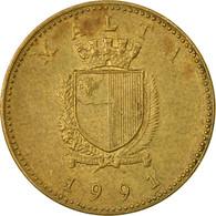 Monnaie, Malte, Cent, 1991, British Royal Mint, B+, Nickel-brass, KM:93 - Malta