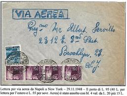 DEMIV°73 -QUARTO PERIODO -4X20 L+15 L DEMOCRATICA SU LETTERA AEREA DA NAPOLI. A NEW YORK -29.11.1948 - 6. 1946-.. Repubblica