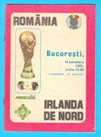 ROMANIA V NORTHERN IRELAND - 1985 FIFA WORLD CUP Qualif. Football Match Programme * Fussball Soccer Foot Calcio Programm - Match Tickets