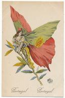 WWI Butterfly Woman Art Nouveau With Portuguese Flag Wings Femme Papillon Portugal - Non Classés