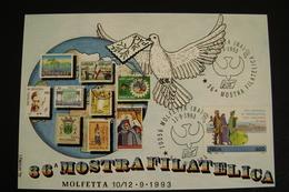 1993   36°  PACE  PEACE  MOLFETTA  FDC MOSTRA FILATELICA FIRST DAY PREMIER JOUR MAXIMUM - Francobolli (rappresentazioni)