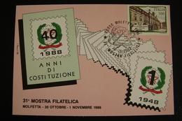 1988  31°  COSTITUZIONE  MOLFETTA  FDC MOSTRA FILATELICA FIRST DAY PREMIER JOUR MAXIMUM - Francobolli (rappresentazioni)