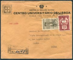 1950 Portugal Lisboa University UPU Registered Airmail Cover - Argus Press Agency, Geneva Switzerland - 1910-... Republic