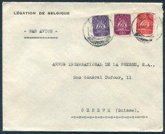 1948 Portugal Legation De Belgique / Belgium Diplomatic Airmail Cover - Argus Press Agency, Geneva Switzerland - 1910-... Republic