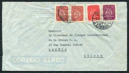 1949 Portugal Lisboa I.P.C.P. Airmail Cover - Argus Press Agency, Geneva Switzerland - 1910-... République