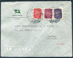 1949 Portugal Soponata Lisboa Airmail Cover - Argus Press Agency, Geneva Switzerland - 1910-... République