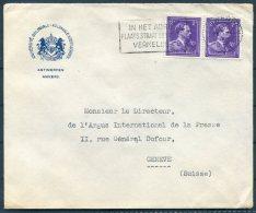 1949 Belgium Anvers Universite Coloniale Cover - Argus Press Agency, Geneva Switzerland. - Belgium