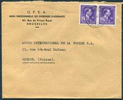 1949 Belgium U.P.E.A. Bruxelles  Cover - Argus Press Agency, Geneva Switzerland. - Belgium
