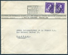 1949 Belgium Bruxelles Chambre De Commerce Suisse Cover - Argus Press Agency, Geneva Switzerland. International Fair - Belgium