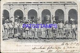 101839 BOLIVIA SICURIS COSTUMES ROMERIA AL SANTUARIO DE COPACABANA CIRCULATED TO ARGENTINA POSTAL POSTCARD - Bolivia