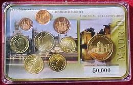 SET COMPLET , SERIE EURO,BELLE EPR . ESPAGNE & FRAPPE COMMEMORATIVE  MADRID  PUERTA DE ALCALA  33 Mm Pièces 2007 / 2008 - Espagne