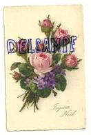 Joyeux Noël. 1929. Bouquet De Roses Et Violettes - Christmas