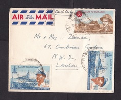 Pakistan: Airmail Cover To UK, 1966, 3 Stamps, Army, Navy, Tank, Ship, Military, Air Label (minor Damage) - Pakistan