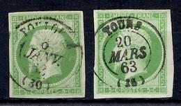 France YT N° 12 Deux Beaux Timbres Oblitérés. Belles Marges Premiers Choix! A Saisir! - 1853-1860 Napoléon III