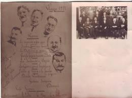 PHOTO Cartonnée - CLASSE 1911 - Menu Du 11 Octobre 1931 - Restaurant PIC - LE PIN (07) - Ft 18 X 13 Cm - Guerre, Militaire