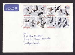 Pakistan: Airmail Cover To Switzerland 1996, 7 Stamps, Bird, Stork, Duck, Goose, Crane, Flower, Air Label (traces Of Use - Pakistan