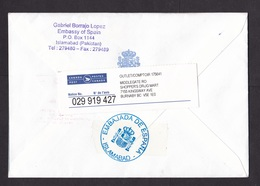 Pakistan: Registered Cover To Canada 1999, 5 Stamps, Music, Ocean, Red Cross, Notice Label, Embassy Spain (traces Of Use - Pakistan