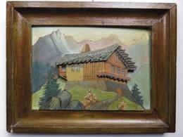 Belle Peinture Et Sculpture Bois Artisanale Chalet De Montagne - Altre Collezioni