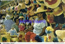 101853 CARIBBEAN JAMAICA COSTUMES STRAW MARKET MERCADO CIRCULATED TO ARGENTINA POSTAL POSTCARD - Postcards